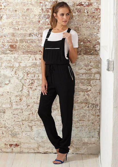 48dafdc3c343 Black Soft Drawstring Overalls Jumpsuit   Alloy  40