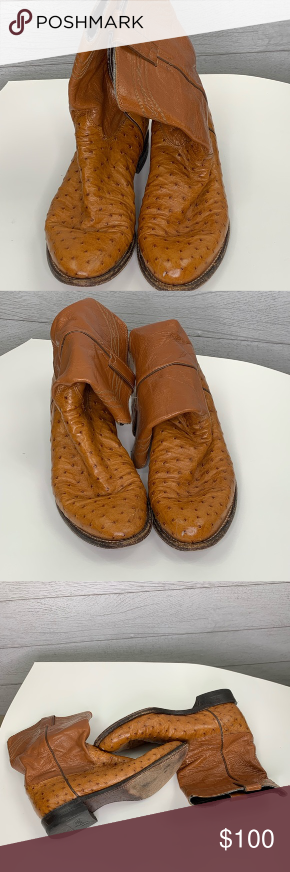 Justin Cognac Full Foot Ostrich Quill Roper Boots Justin Cognac Full Foot Ostrich Quill Roper Boots Condition Roper Boots Western Cowboy Boots Justin Boots