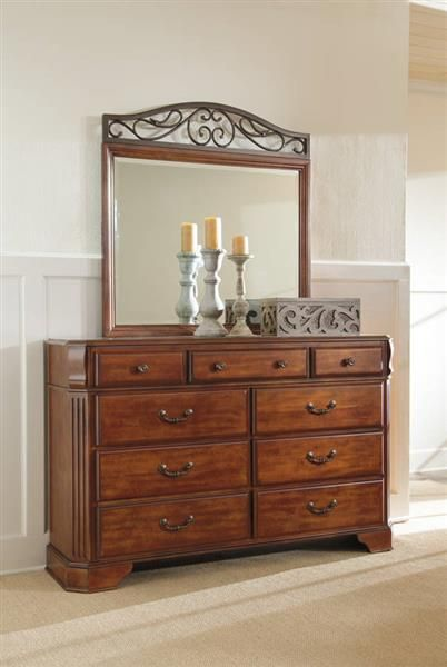Wyatt Traditional Medium Brown Cherry Wood Metal Dresser