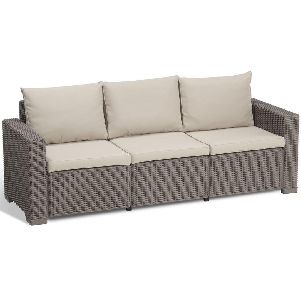 Lounge Sofa California 3 Sitzer Cappuccino Panama Sand Rugkussens Zitkussen Cappuccino