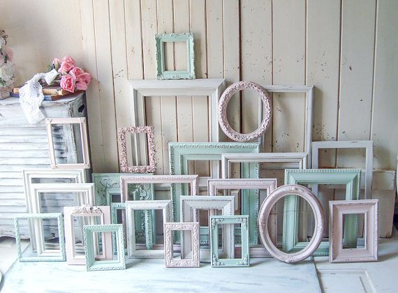 Mint Blush and Antique White Large Custom Frame Order, MADE to ORDER ...