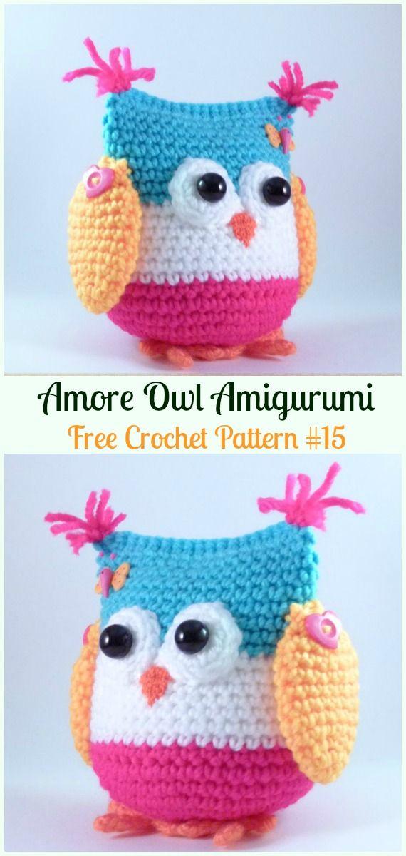Amimigurumi Amore Owl Crochet Free Pattern -Amigurumi Owl Toy Softies Free Crochet Patterns