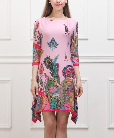 Look what I found on #zulily! Pink Floral Paisley Sidetail Dress by Reborn Collection #zulilyfinds