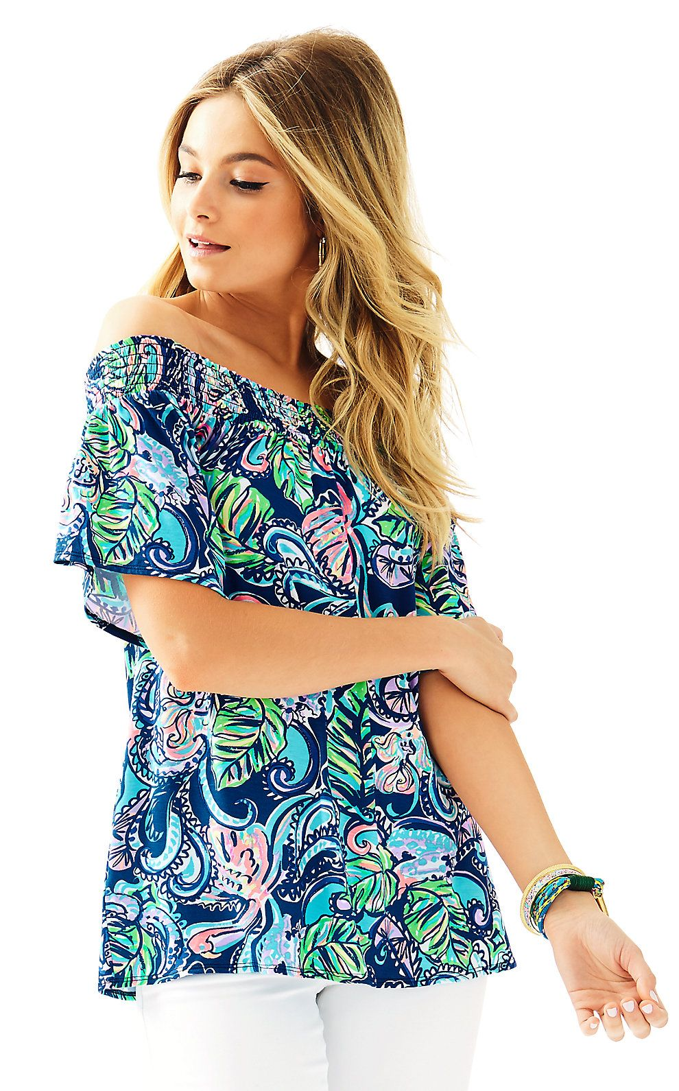 98353ce7629af0 Almeria Top Style Wish, Style Me, Off Shoulder Tops, Lilly Pulitzer, White