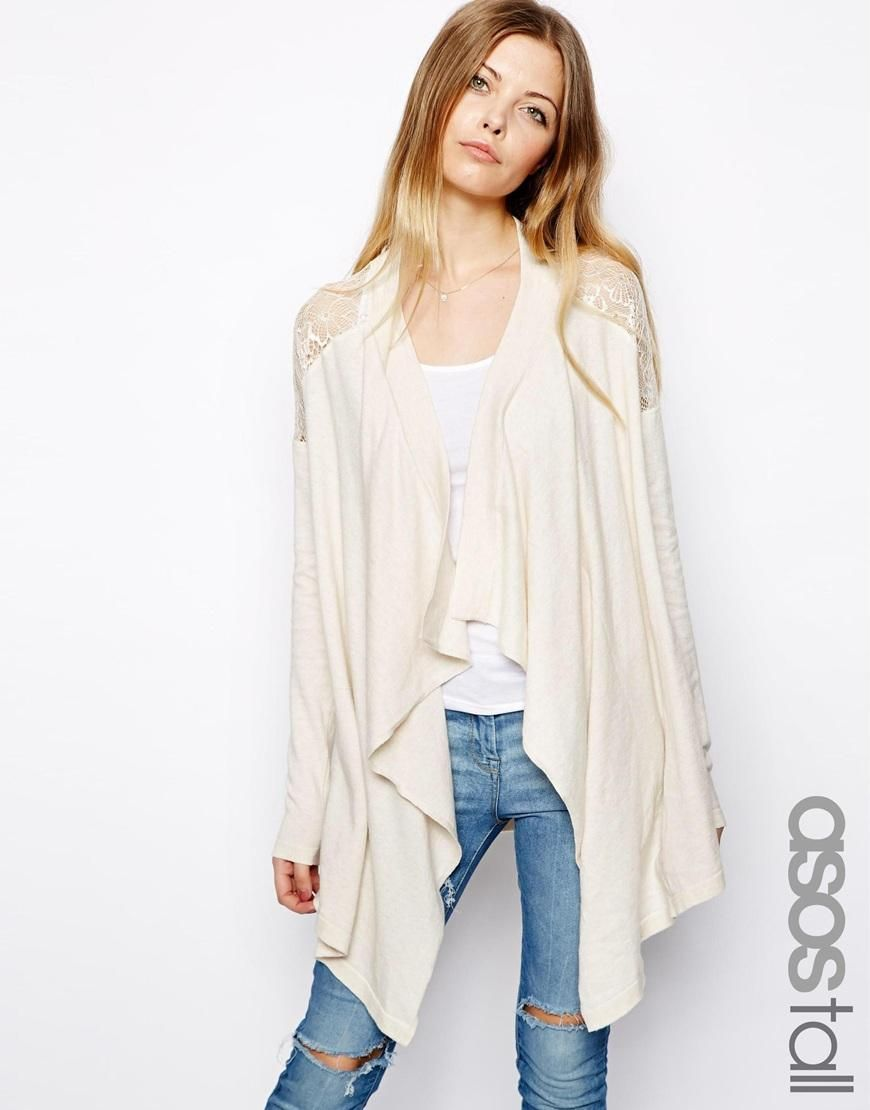 ASOS Tall | ASOS TALL Waterfall Cardigan With Lace Shoulder Detail ...