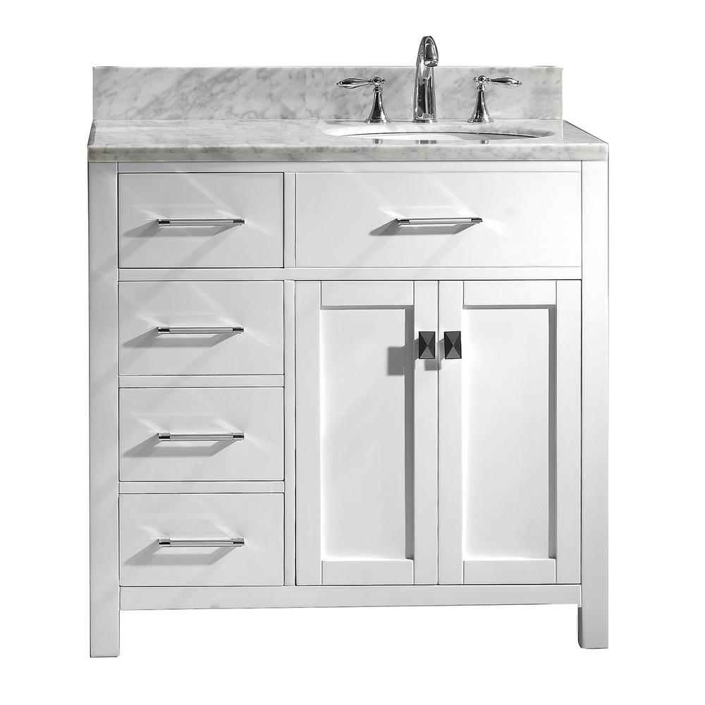 Virtu Usa Caroline Parkway 36 In W Bath Vanity In White With Marble Vanity Top In White With Round Basin Ms 2136l Wmro Wh Nm The Home Depot Bathroom Sink Vanity Single Sink Bathroom Vanity