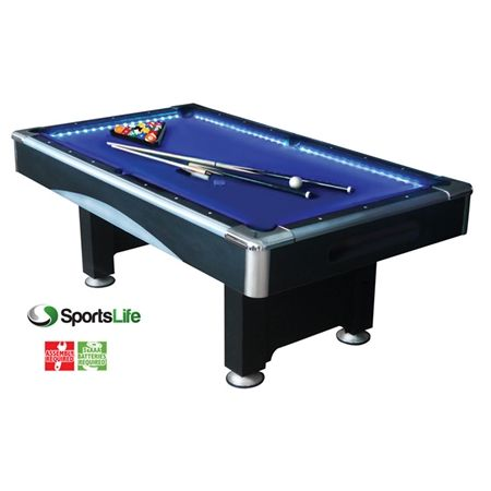 SportsLife 7ft Pool Table With LED Lights