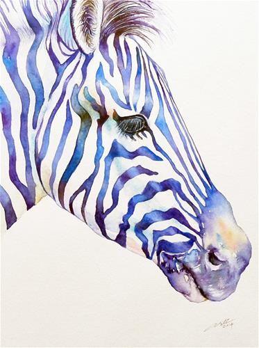 Zebra Portrait In Blue C Arti Chauhan Via Dailypaintworks Peinture Zebre Peinture Cheval Et Peintures Animalieres