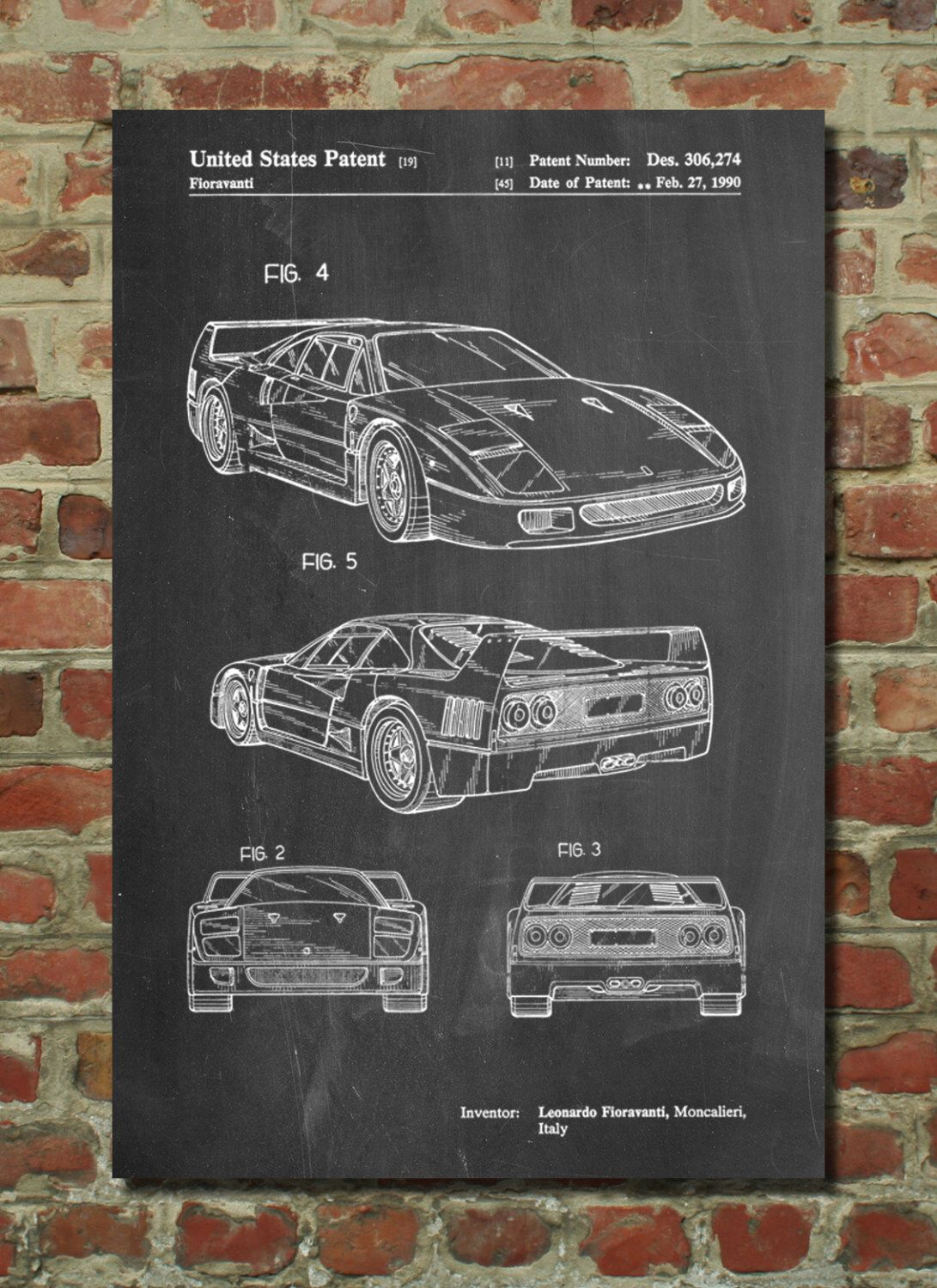 F40 patent poster car decor automotive art exotic sports car f40 patent poster car decor automotive art exotic sports car mechanic gift teen boy wall decor pp0108 malvernweather Choice Image
