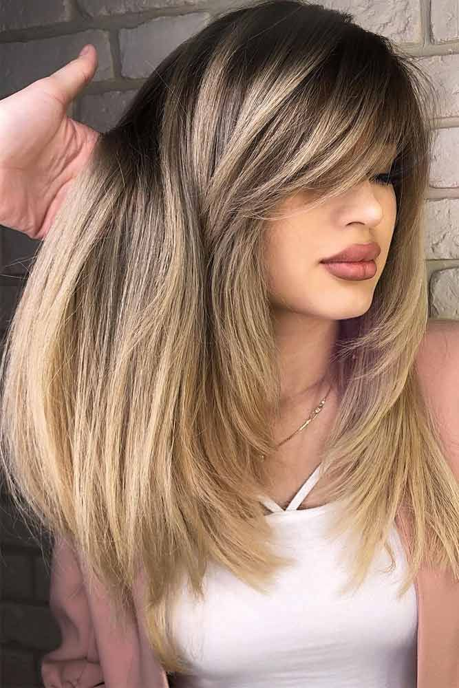 27 Flattering Hairstyles That Can Beautify Your Big Forehead Layered Haircuts With Bangs Haircuts For Long Hair Long Layered Haircuts