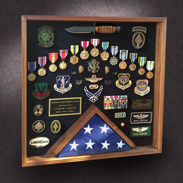 National Guard 24x24x3 Cherry Shadow Box With 3x5 Flag