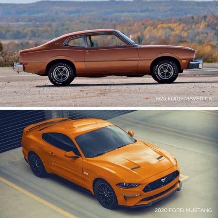 Tbt 1975 Ford Maverick Vs 2020 Ford Mustang Ford Maverick Ford Mustang Van Wert
