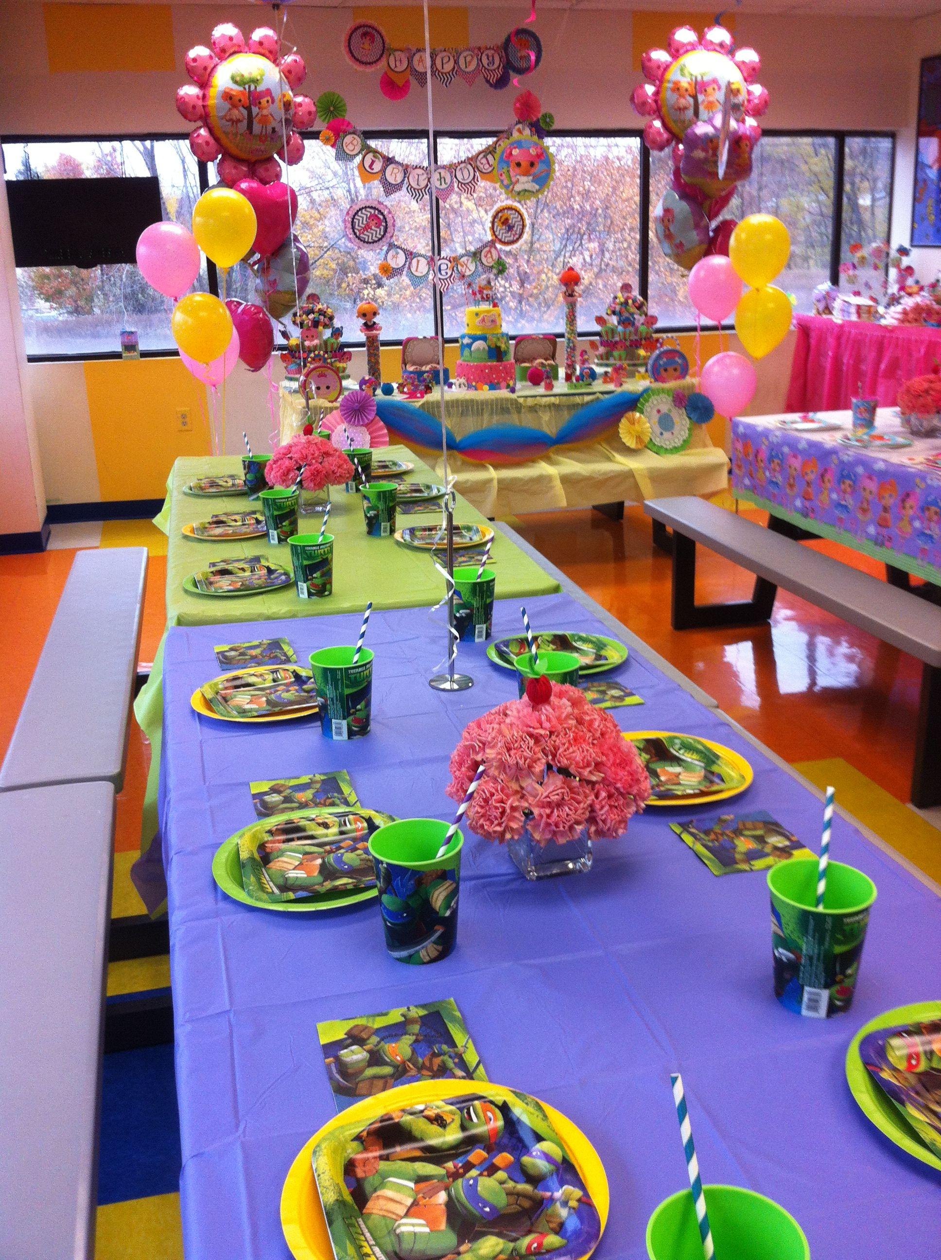 NInja Turtle Decoration for Boys at a Lalaloopsy Birthday Party Idea