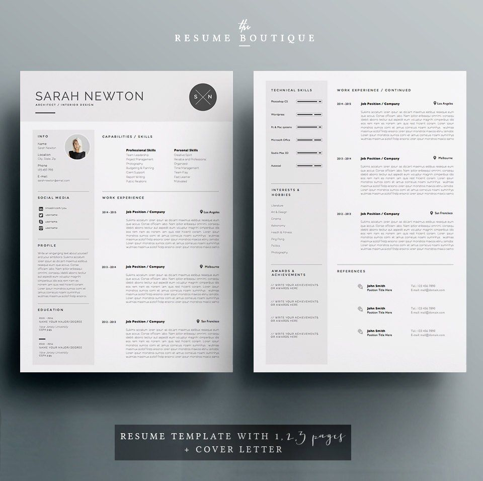 Lettre De Motivation Template: Resume Template And Cover Letter Template For Word