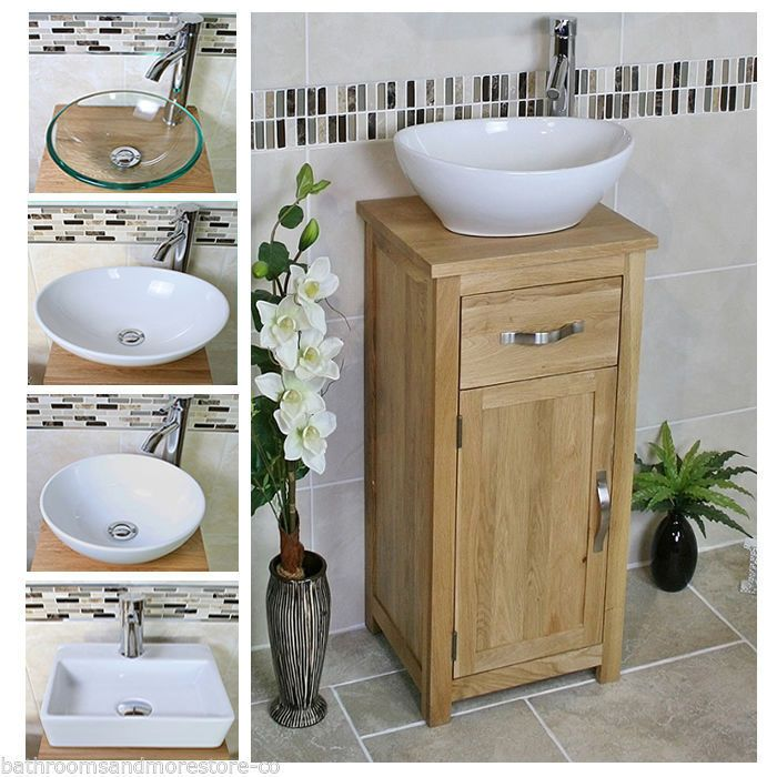 Solid Oak Bathroom Cabinet | Compact Vanity Sink | Small Bathroom Vanity  Units