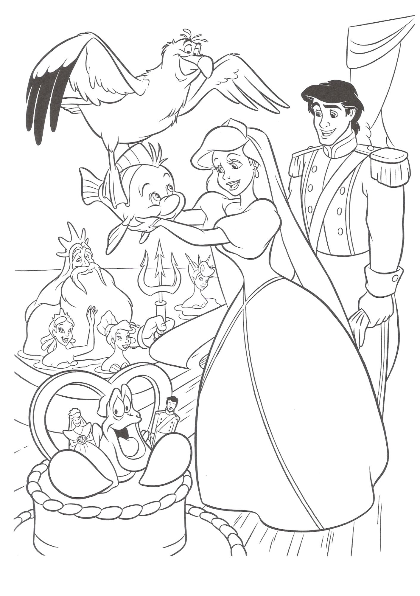 Disney The Little Mermaid Coloring Page | Coloring Pages | Pinterest ...