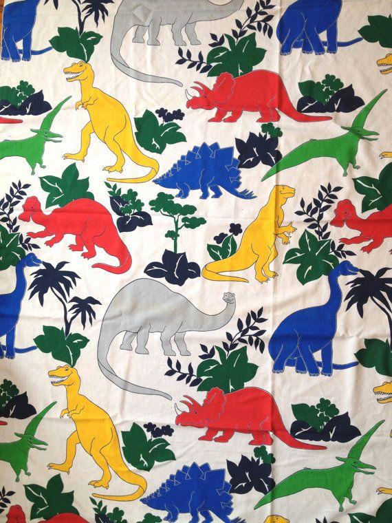 Colorful Dinosaurs Twin Flat Sheet 80s Dinosaur Sheets Etsy Vintage Vintage Home Decor