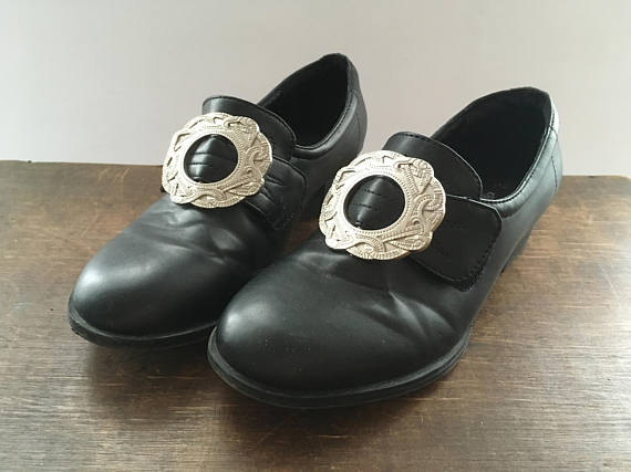 d2a61773f943b Black Leather Shoes Norwegian Bunad Children's Shoes with Metal ...