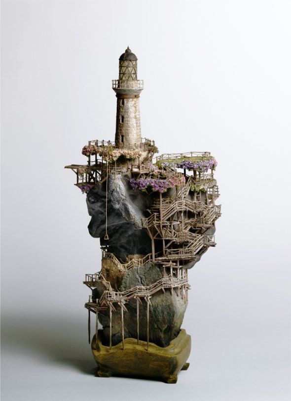 Takanori Aiba created these complex miniature buildings. 4
