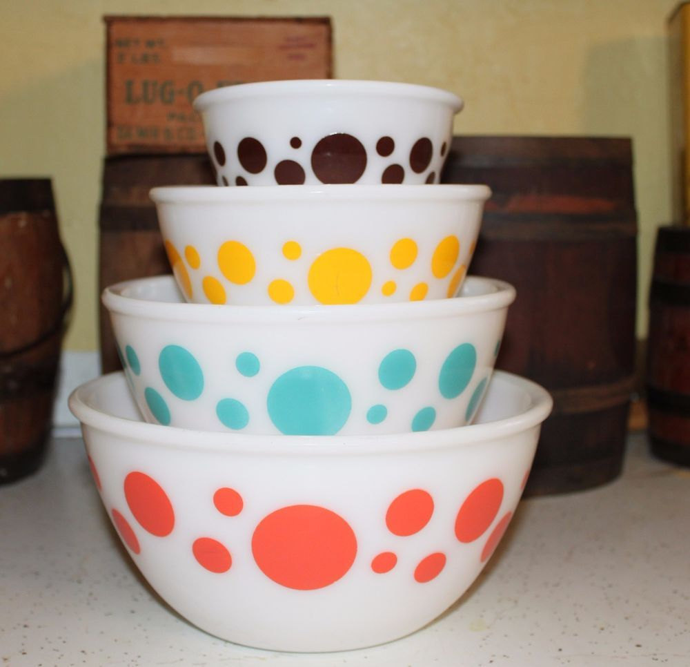Hazel Atlas 4 piece Polka Dot Mixing Bowl Set 1950\'s | Mixing bowls ...