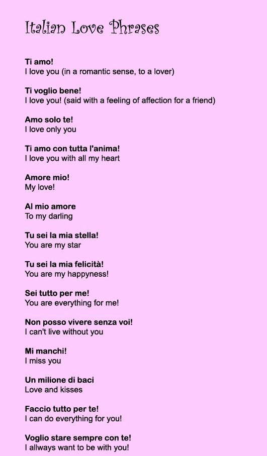 italianlovephrases Italian love phrases, Italian words