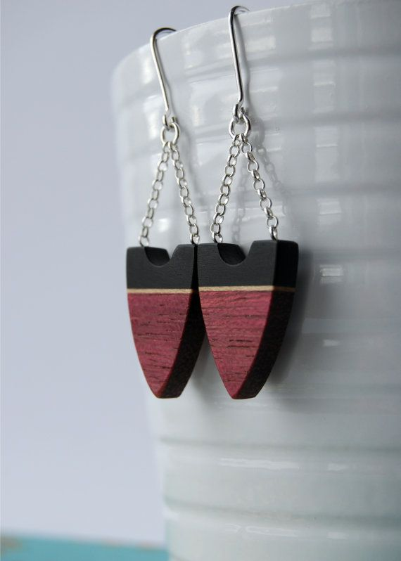 Purple Arrows  purpleheart and sterling silver by LucieVeilleux, $45.00
