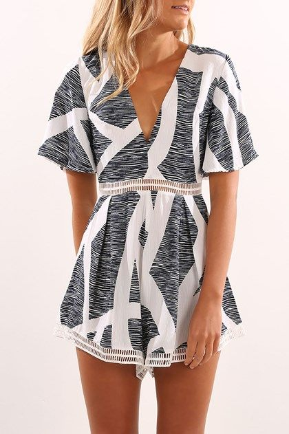 Let You Know Playsuit Zebra Print
