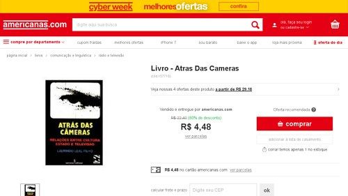 [Americanas.com] Livro - Atras Das Cameras - 8532303390 - de R$ 10,80 por R$ 4,48 (58% de desconto)
