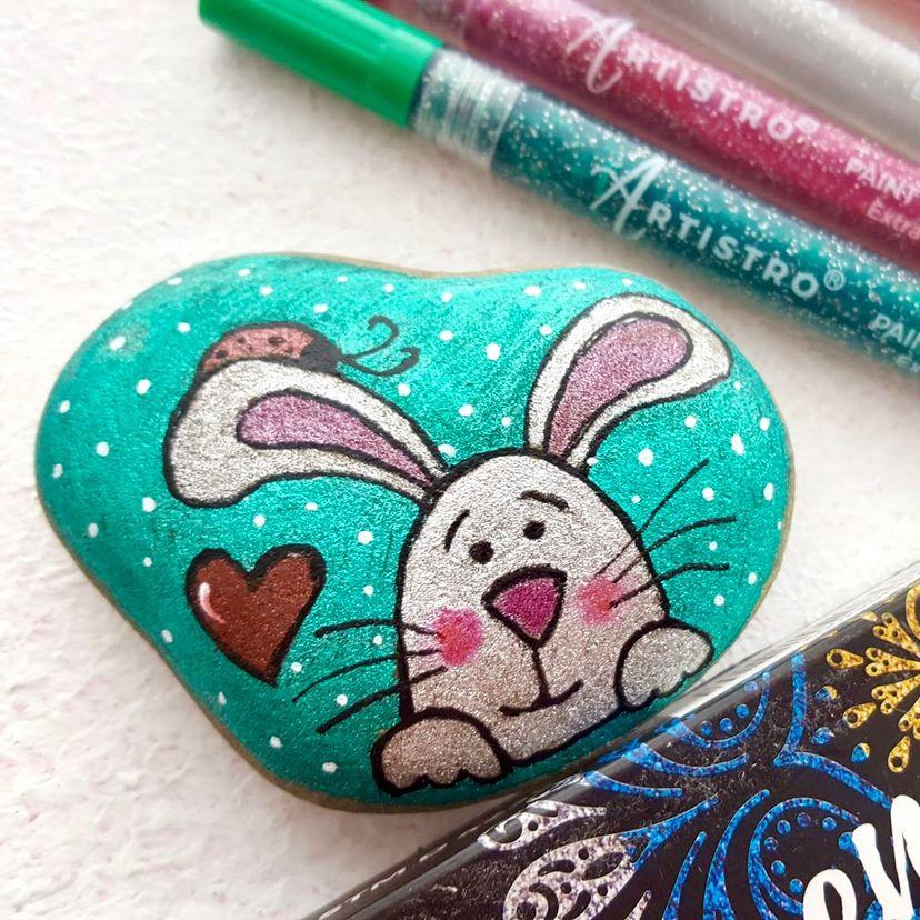 Cute rabbit painted rock