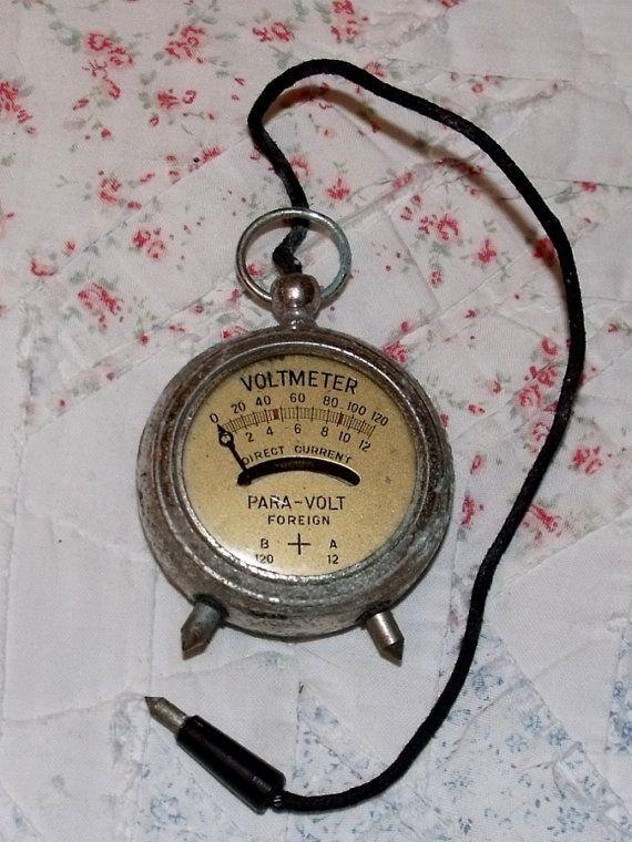 Antique Volt Meter : Vintage para volt meter voltmeter pocket watch by
