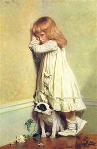 Watercolors and a sad little girl with a puppy. Melts everyone's heart.♥