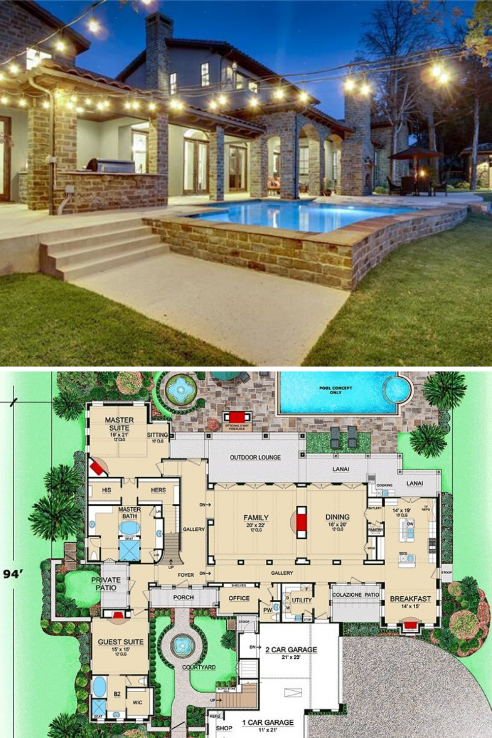 4 Bedroom Two Story Tuscan Home With Courtyard Floor Plan Tuscan House Pool House Plans Courtyard House