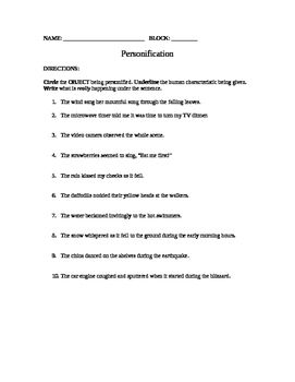 Free Personification Worksheet - Grades 6,7,8 | Figurative ...