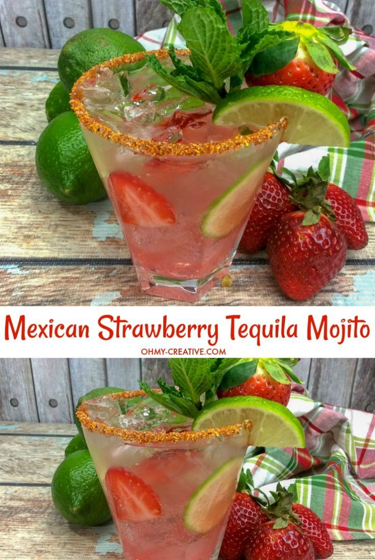 Mexican Strawberry Tequila Mojito #tequiladrinks