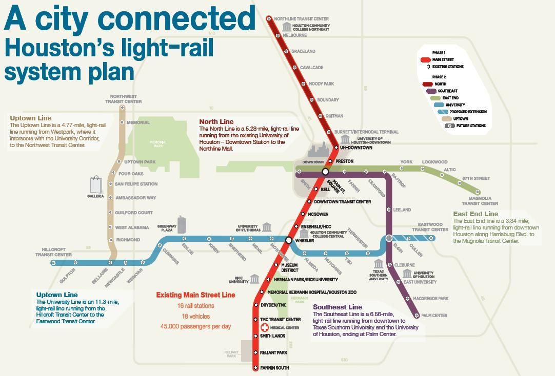 Houston\'s light rail map in 2019 | Houston lights, Light ...