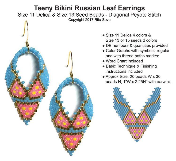 433586b97 Teeny Bikini Russian Leaf Earrings | Bead-Patterns | Projects to Try ...