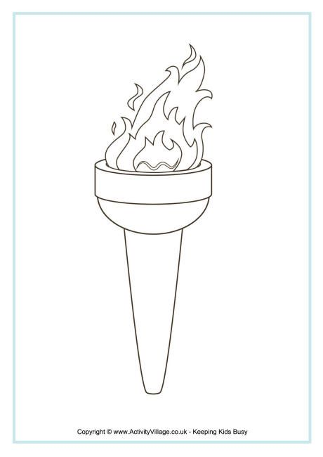 Olympic Torch Colouring Page Olympics Activities Olympic Crafts