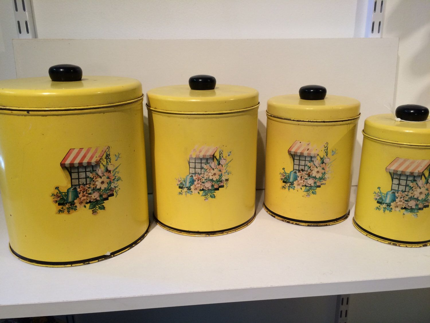 Vintage Metal Kitchen Canister Set Of 4. Canary Yellow With Decal Of  Flowers On Front