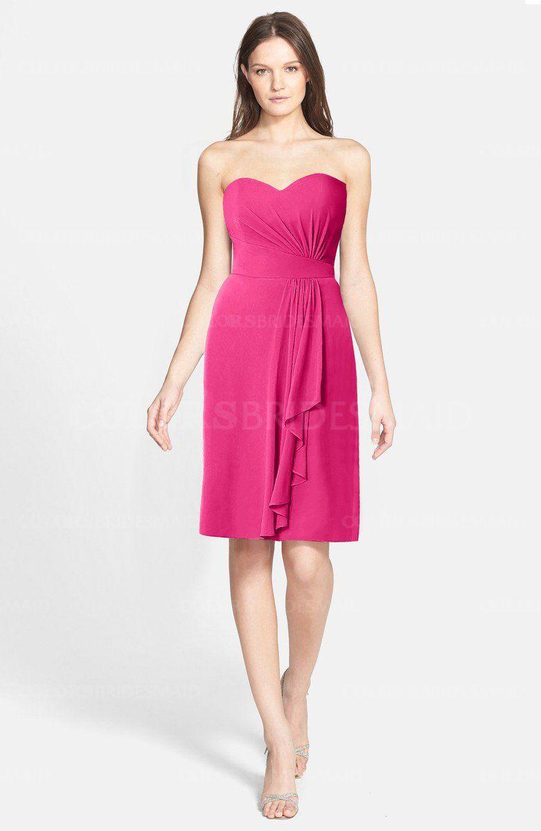 Fandango Pink Cute Sweetheart Sleeveless Zip up Chiffon Knee Length ...