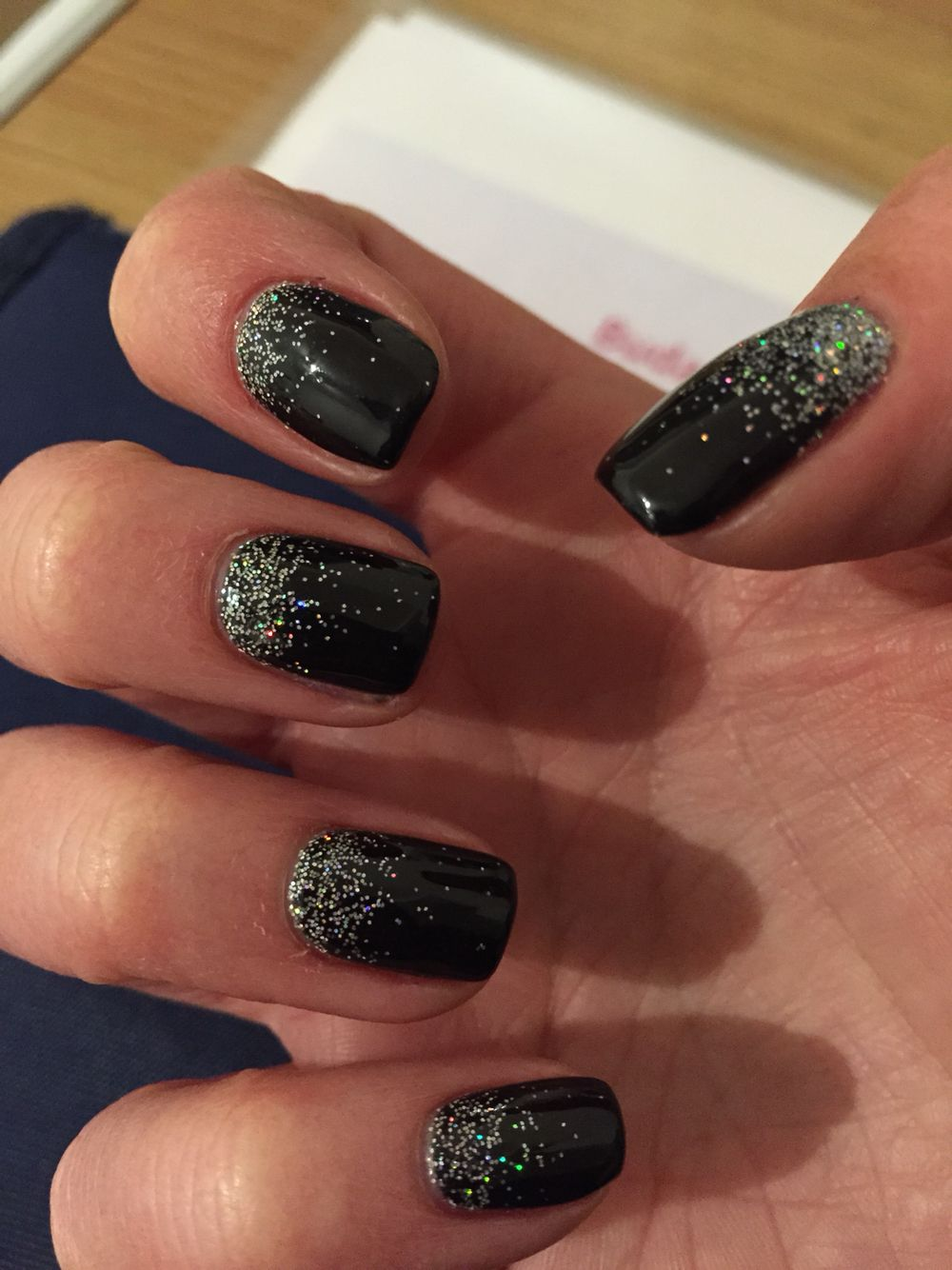 Black Shellac Silver Glitter Nails