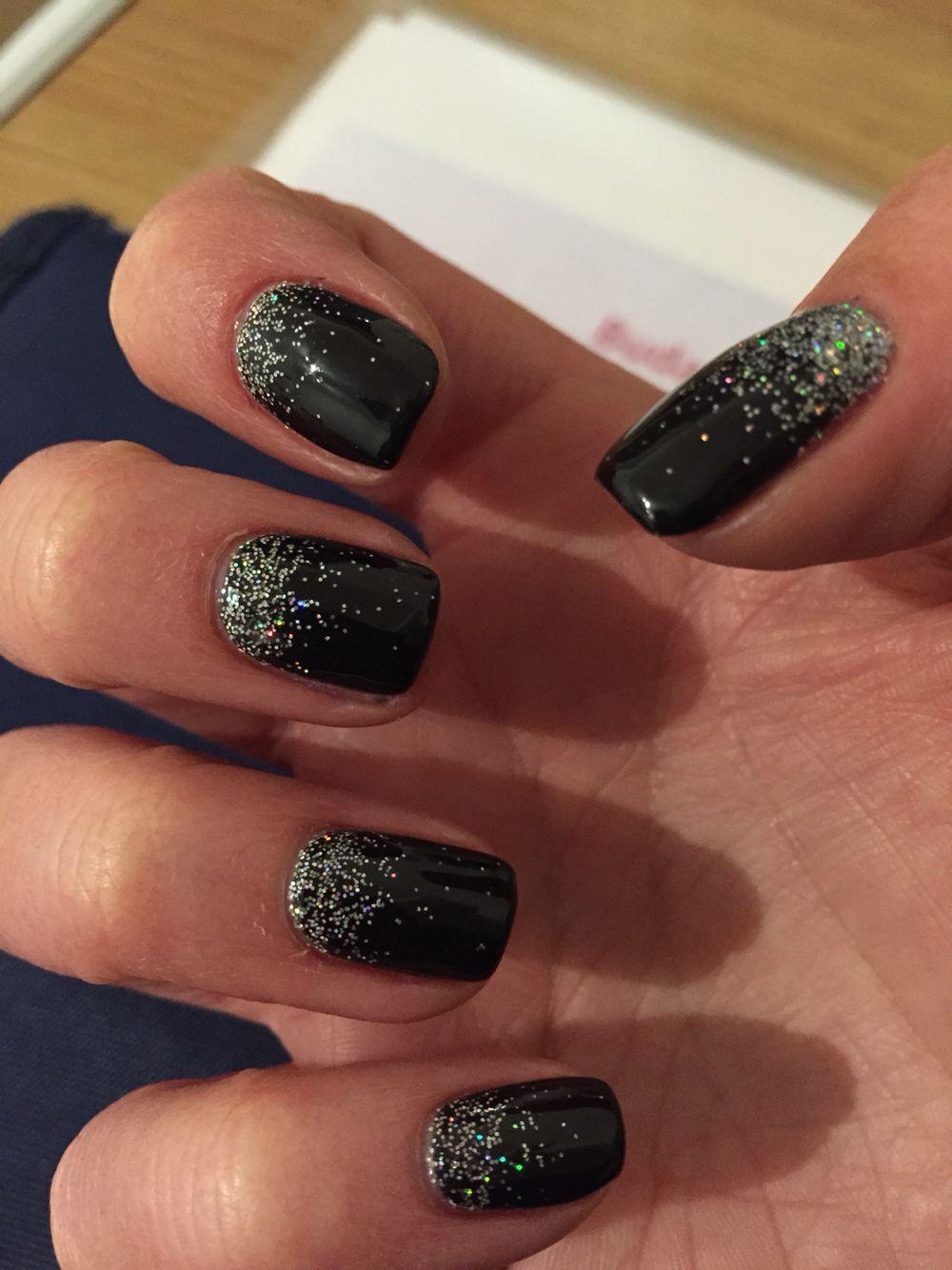 black shellac silver glitter nails