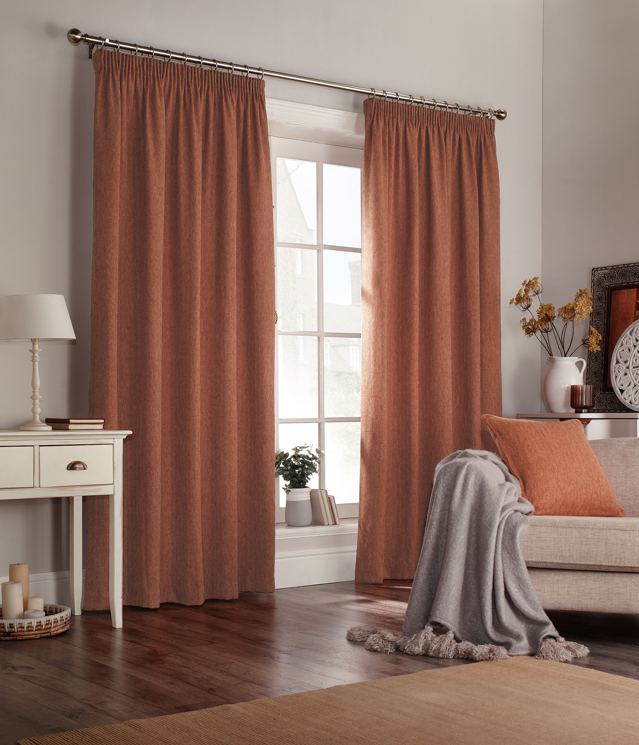 Harrison Pencil Pleat Curtains In Burnt Orange (With