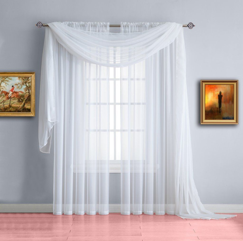 Warm Home Designs Pair Of White Sheer Curtains Or Extra Long Window Scarf White Sheer Curtains