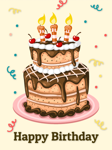 Chocolate And Cherry Birthday Cake ECard