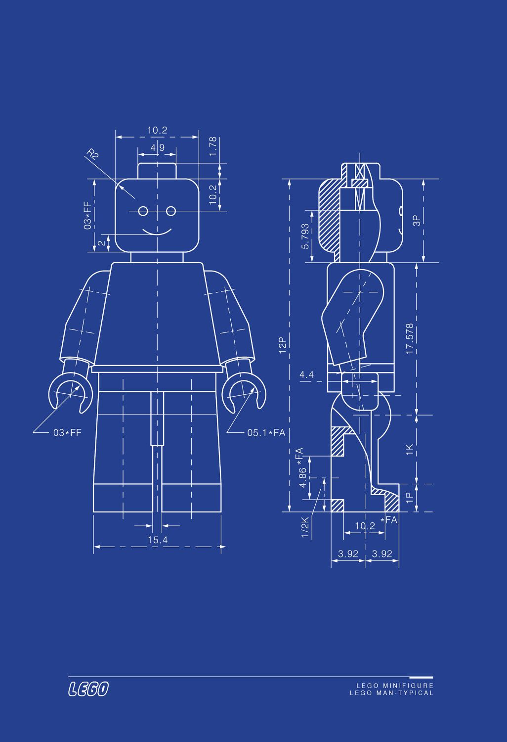 LEGO MAN Art Print Lego Minifigure - Typical Blueprint Technical ...