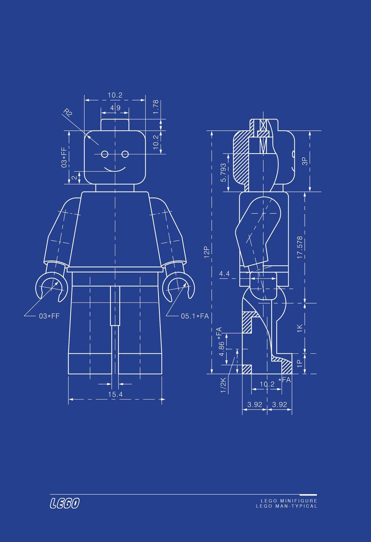 Lego man art print lego minifigure typical blueprint technical lego man art print lego minifigure typical blueprint technical drawing 13x19 malvernweather Gallery