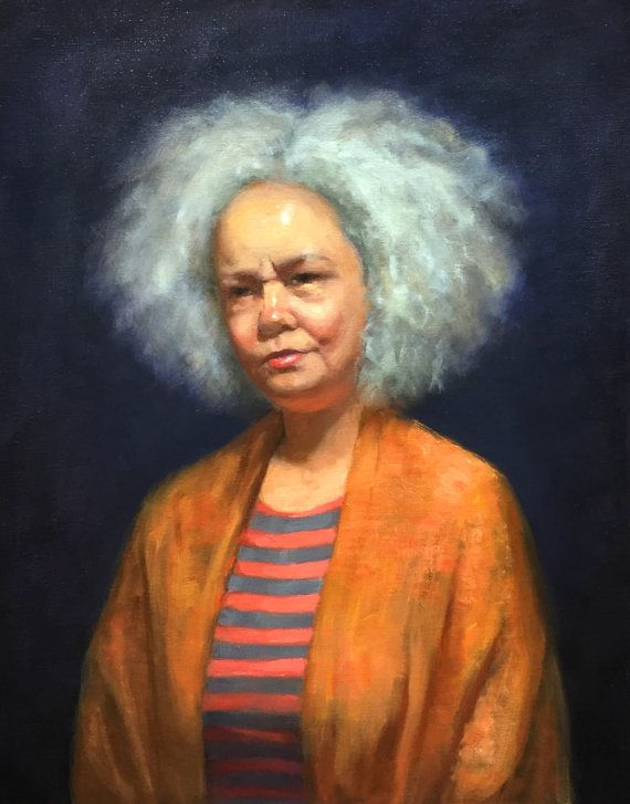 Portrait Of The Woman With Grey Curly Hair Original Oil Painting Painting From Life Home Decor Oil On Linen 16 20in Figure Painting Portrait Beauty In Art