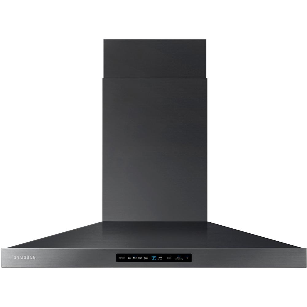 Samsung 36 In Wall Mount Range Hood Touch Controls Bluetooth Connected Led Lighting In Fingerprint Resistant Black Stainless Nk36k7000wg The Home Depot Wall Mount Range Hood Black Stainless Steel Range Hood