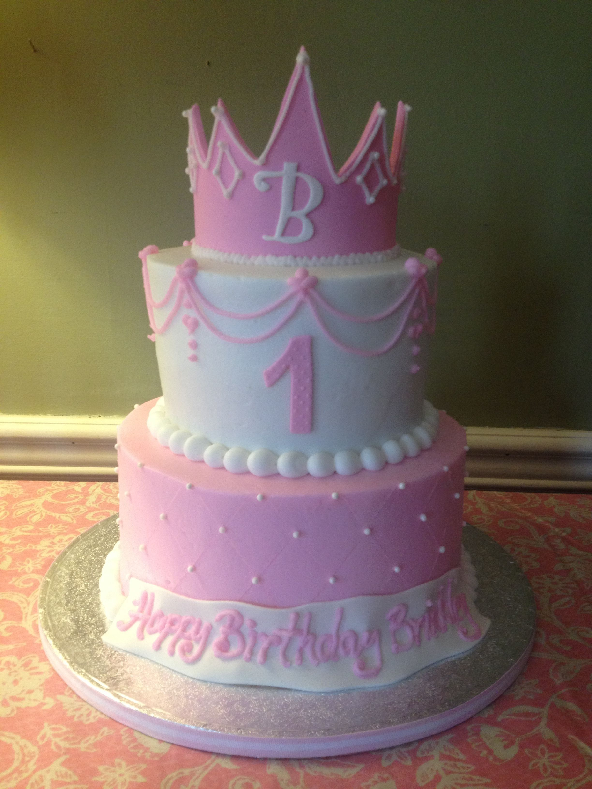 27 Inspired Image Of 1St Birthday Cake Girl Ba Girls First Princess And Crown Pink The BirthdayCakeImages