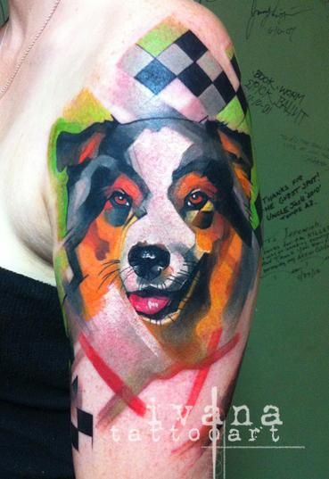 Dog Portrait With Funky Background Ivana Tattoo Art Watercolor